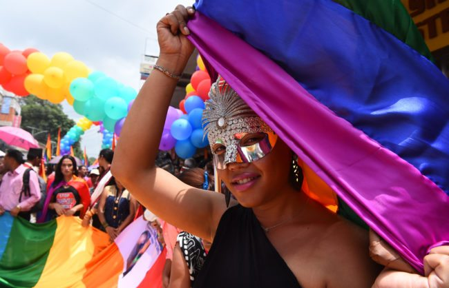 Nepali members of the LGBT community take part in a Gay Pride parade in Kathmandu on August 8, 2017. Scores of gays, lesbians, transvestites and transsexuals from across the country took part in the rally to spread their campaign for sexual rights in the country. In 2013 Nepal introduced citizenships with a third gender option and began issuing passports reflecting the same in 2015. / AFP PHOTO / PRAKASH MATHEMA        (Photo credit should read PRAKASH MATHEMA/AFP/Getty Images)