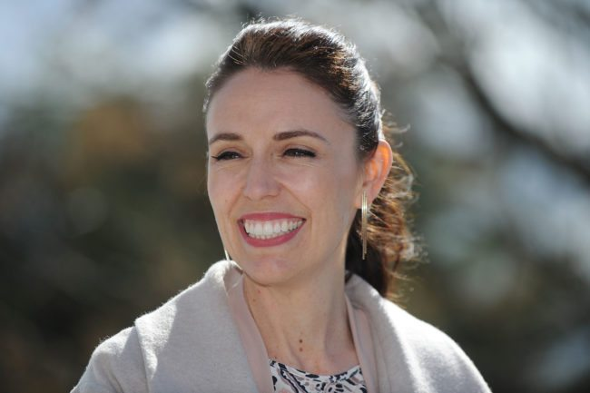 NAPIER, NEW ZEALAND - SEPTEMBER 11: Jacinda Adern, leader of the Labour Party, announces plans for more state houses and starter homes in Mareanui on September 11, 2017 in Napier, New Zealand. (Photo by Kerry Marshall/Getty Images)