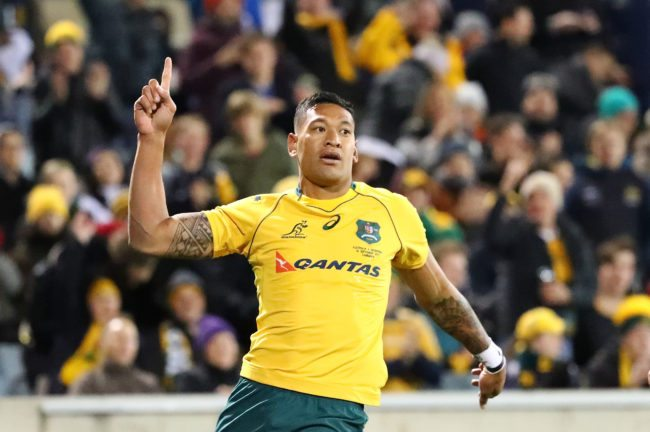 CANBERRA, AUSTRALIA - SEPTEMBER 16: Israel Folau of the Wallabies celebrates after scoring a try during The Rugby Championship match between the Australian Wallabies and the Argentina Pumas at Canberra Stadium on September 16, 2017 in Canberra, Australia. (Photo by Scott Barbour/Getty Images)
