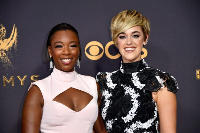 LOS ANGELES, CA - SEPTEMBER 17: Actor Samira Wiley and Lauren Morelli attend the 69th Annual Primetime Emmy Awards at Microsoft Theater on September 17, 2017 in Los Angeles, California. (Photo by Frazer Harrison/Getty Images)
