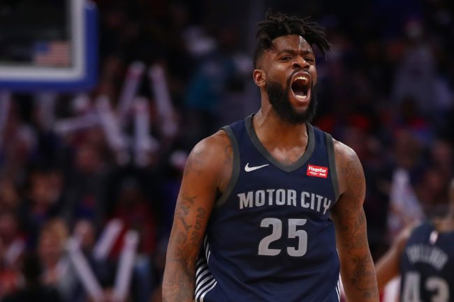 DETROIT, MI - JANUARY 30: Reggie Bullock #25 of the Detroit Pistons reacts to a three point basket while playing the Cleveland Cavaliers at Little Caesars Arena on January 30, 2018 in Detroit, Michigan. Detroit won the game 125-114. NOTE TO USER: User expressly acknowledges and agrees that, by downloading and or using this photograph, User is consenting to the terms and conditions of the Getty Images License Agreement. (Photo by Gregory Shamus/Getty Images)