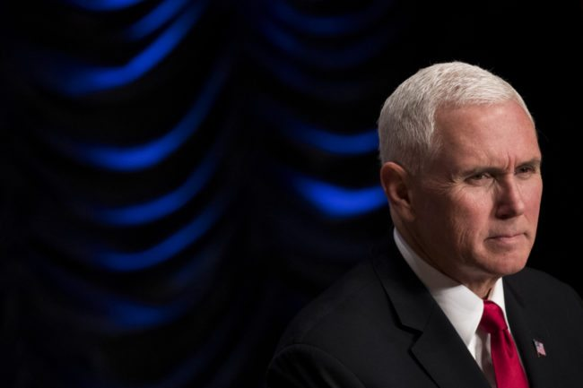 WASHINGTON, DC - MARCH 1: Vice President Mike Pence speaks during an event to mark the 15th anniversary of the Department of Homeland Security, March 1, 2018 in Washington, DC. The Department of Homeland Security was created after the September 11 attacks and the agency eventually combined 22 various federal departments and agencies into one integrated cabinet agency. (Photo by Drew Angerer/Getty Images)