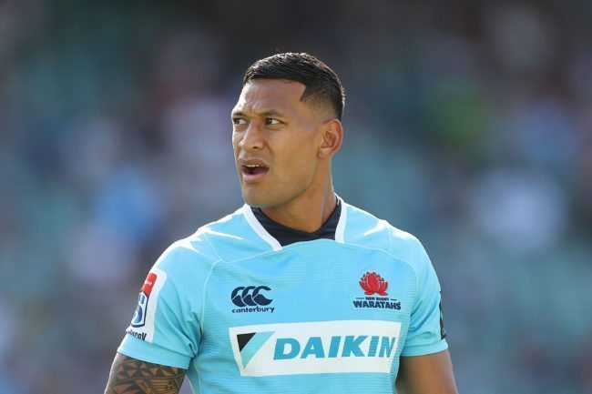 SYDNEY, AUSTRALIA - MARCH 18:  Israel Folau of the Waratahs looks on during the round five Super Rugby match between the Waratahs and the Rebels at Allianz Stadium on March 18, 2018 in Sydney, Australia.  (Photo by Mark Metcalfe/Getty Images)