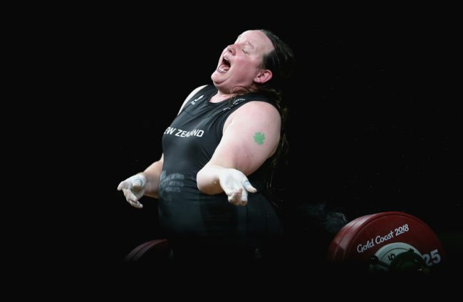 GOLD COAST, AUSTRALIA - APRIL 09: Laurel Hubbard of New Zealand fails to lift leading to an injury in the Women's 90kg Final during Weightlifting on day five of the Gold Coast 2018 Commonwealth Games at Carrara Sports and Leisure Centre on April 9, 2018 on the Gold Coast, Australia. (Photo by Alex Pantling/Getty Images)