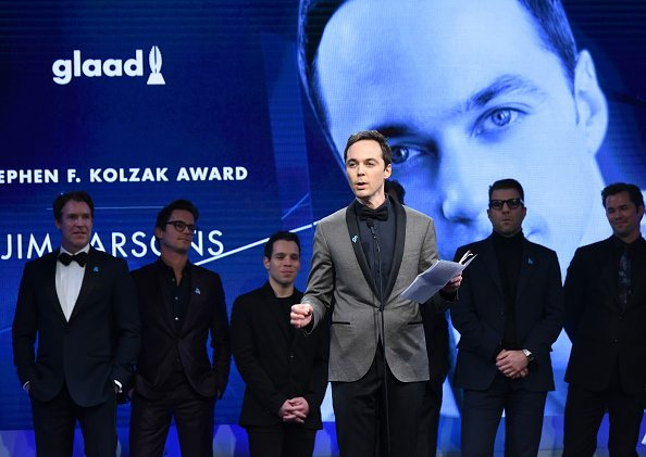 BEVERLY HILLS, CA - APRIL 12: Honoree Jim Parsons accepts the Stephen F. Kolzak Award onstage at the 29th Annual GLAAD Media Awards at The Beverly Hilton Hotel on April 12, 2018 in Beverly Hills, California. (Photo by Vivien Killilea/Getty Images for GLAAD)