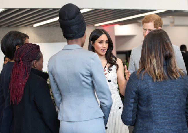 Britain's Prince Harry and his fiancee US actress Meghan Markle attend a reception with delegates from the Commonwealth Youth Forum in central London on April 18, 2017, on the sidelines of the Commonwealth Heads of Government meeting (CHOGM). / AFP PHOTO / POOL / Yui Mok (Photo credit should read YUI MOK/AFP/Getty Images)