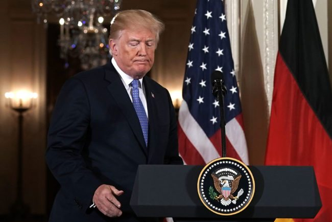 WASHINGTON, DC - APRIL 27:  U.S. President Donald Trump takes the podium during a joint news conference with German Chancellor Angela Merkel at the East Room of the White House April 27, 2018 in Washington, DC. President Trump held talks and a working lunch with Chancellor Merkel prior to the joint news conference.  (Photo by Alex Wong/Getty Images)