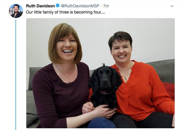 Ruth Davidson 'overjoyed' as she announces she's expecting her first child