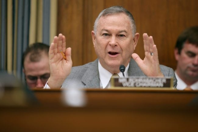 """WASHINGTON, DC - MARCH 19: House Science, Space and Technology Committee member Rep. Dana Rohrabacher (R-CA) questions witnesses from NASA, the Department of Defense and the White House during a hearing in the Rayburn House Office Building on Capitol Hill March 19, 2013 in Washington, DC. The committee asked government and military experts about efforts to track and mitigate asteroids, meteors and other """"near-Earth objects."""" (Photo by Chip Somodevilla/Getty Images)"""