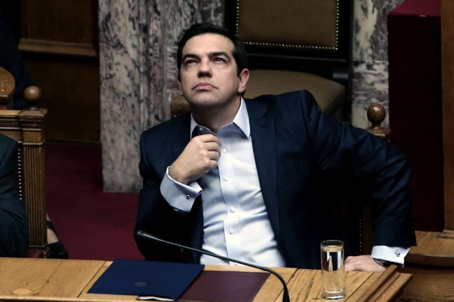Greek Prime Minister Alexis Tsipras is seen during a parliamentary session in Athens on December 10, 2016.  / AFP / Angelos Tzortzinis        (Photo credit should read ANGELOS TZORTZINIS/AFP/Getty Images)