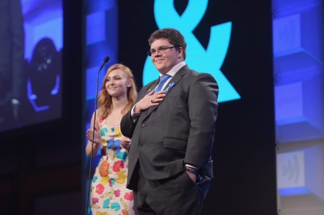 NEW YORK, NY - MAY 06: AnnaSophia Robb and Gavin Grimm speak on stage at the 28th Annual GLAAD Media Awards at The Hilton Midtown on May 6, 2017 in New York City. (Photo by Jason Kempin/Getty Images for GLAAD)