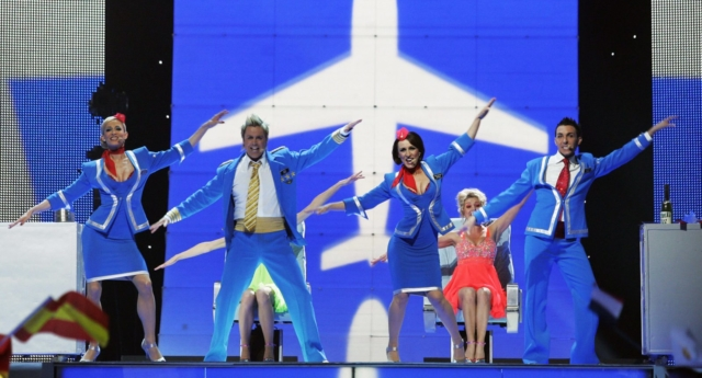 Scooch of the UK perform during the final of the Eurovision Song Contest 2007 (SVEN NACKSTRAND/AFP/Getty Images)