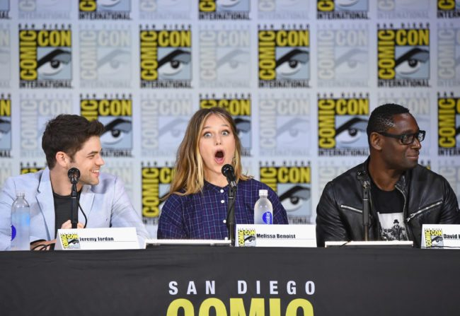 "SAN DIEGO, CA - JULY 22: Jeremy Jordan, Melissa Benoist, and David Harewood attends the ""Supergirl"" special video presentation during Comic-Con International 2017 at San Diego Convention Center on July 22, 2017 in San Diego, California. (Photo by Mike Coppola/Getty Images)"