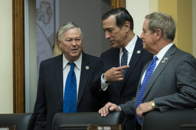 WASHINGTON, DC - NOVEMBER 01: (L to R) Rep. Dana Rohrabacher (R-CA), Rep. Darrell Issa (R-CA) and Rep. Joe Wilson (R-SC) await the arrival of Thae Yong-ho, former chief of mission at the North Korean embassy in the United Kingdom, during a House Foreign Affairs Committee hearing on Capitol Hill, November 1, 2017 in Washington, DC. Yong-ho defected from North Korea in 2016. (Drew Angerer/Getty Images)