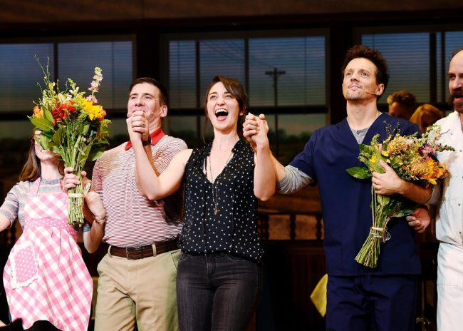 "NEW YORK, NY - NOVEMBER 03: David Josefsberg, Sara Bareilles and Jason Mraz take a bow at the curtain call of Broadway's ""Waitress"" at The Brooks Atkinson Theatre on November 3, 2017 in New York City. (Photo by Nicholas Hunt/Getty Images)"