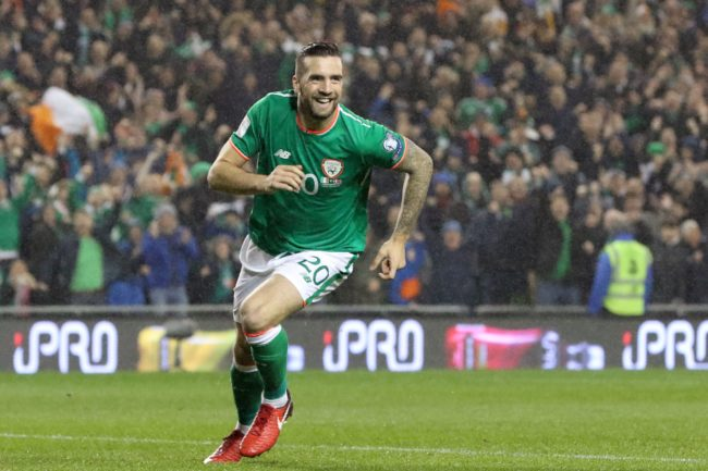Republic of Ireland's defender Shane Duffy celebrates after scoring the opening goal of the FIFA World Cup 2018 qualifying football match, second leg, between Republic of Ireland and Denmark at Aviva Stadium in Dublin on November 14, 2017. / AFP PHOTO / Paul FAITH (Photo credit should read PAUL FAITH/AFP/Getty Images)