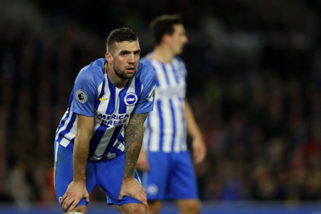 BRIGHTON, ENGLAND - DECEMBER 02: Lewis Shane Duffy of Brighton & Hove Albion reacts during the Premier League match between Brighton and Hove Albion and Liverpool at Amex Stadium on December 2, 2017 in Brighton, England. (Photo by Dan Istitene/Getty Images)