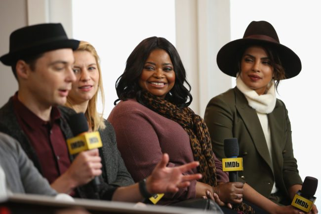PARK CITY, UT - JANUARY 21:  (L-R) Actors Jim Parsons, Claire Danes, Octavia Spencer and Priyanka Chopra from 'A Kid Like Jake' attend The IMDb Studio and The IMDb Show on Location at The Sundance Film Festival on January 21, 2018 in Park City, Utah.  (Photo by Rich Polk/Getty Images for IMDb)