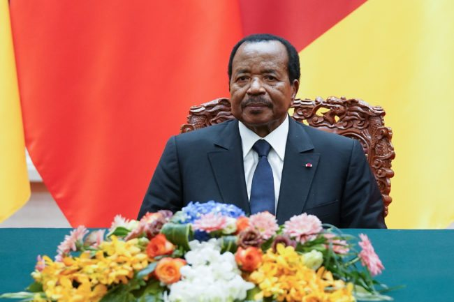 BEIJING, CHINA - MARCH 22: President of Cameroon Paul Biya with Chinese President Xi Jinping (not pictured) attend a signing ceremony at The Great Hall Of The People on March 22, 2018 in Beijing, China. At the invitation of Chinese president Xi Jinping, President Paul Biya of the Republic of Cameroon will pay a state visit to China from March 22nd to 24th. (Photo by Lintao Zhang/Getty Images)