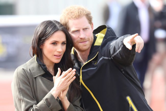 BATH ENGLAND- APRIL 06 Meghan Markle and Prince Harry Patron of the Invictus Games Foundation attend the UK Team Trials for the Invictus Games Sydney 2018 at the University of Bath Sports Training Village