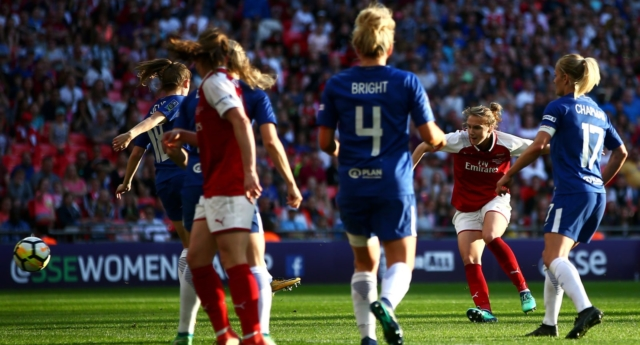 Vivianne Miedema of Arsenal scores her team's first goal of the game during the SSE Women's FA Cup Final match between Arsenal Women and Chelsea Ladies on May 5, 2018 (Jordan Mansfield/Getty Images)