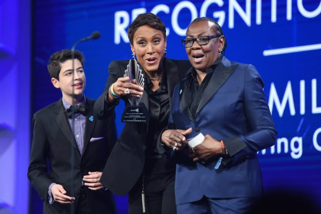 NEW YORK, NY - MAY 05:  (L-R) Joshua Rush, and Robin Roberts present Gloria Carter with a Special Recognition Award onstage during the 29th Annual GLAAD Media Awards at The Hilton Midtown on May 5, 2018 in New York City.  (Photo by J. Merritt/Getty Images for GLAAD)