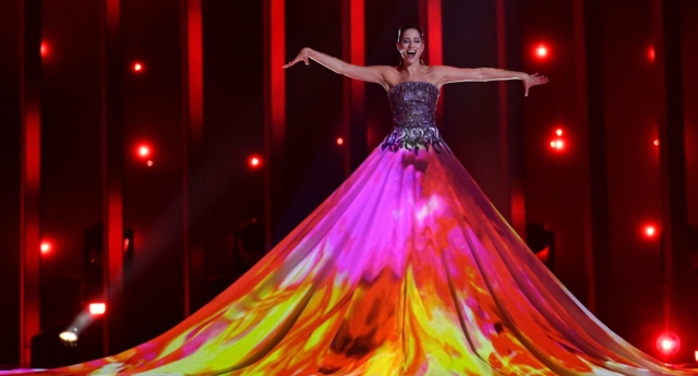 Estonia's singer Elina Nechayeva performs the song 'La Forza' during the first semifinal of the 63rd edition of the Eurovision Song Contest 2018 (Francisco LEONG / AFP/Getty)