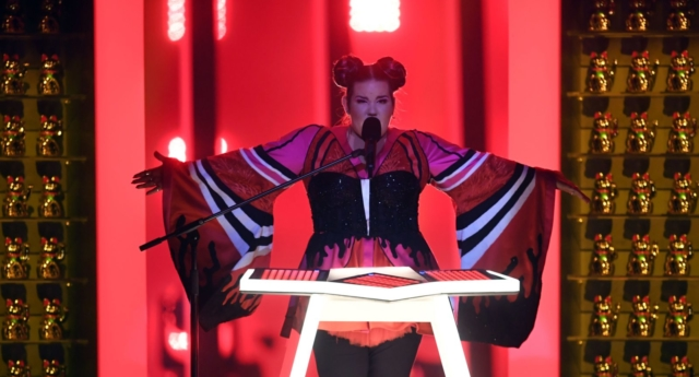 "Israel's singer Netta Barzilai aka Netta performs ""Toy"" during the final of the 63rd edition of the Eurovision Song Contest 2018 at the Altice Arena in Lisbon, on May 12, 2018. (Photo by Francisco LEONG / AFP)        (Photo credit should read FRANCISCO LEONG/AFP/Getty Images)"