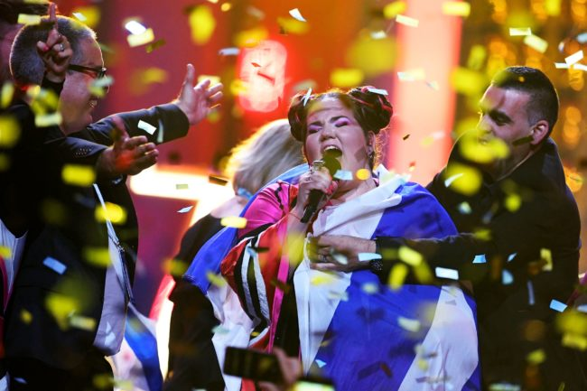 Israel's singer Netta Barzilai aka Netta performs after winning the final of the 63rd edition of the Eurovision Song Contest 2018 at the Altice Arena in Lisbon, on May 12, 2018. (Photo by Francisco LEONG / AFP)        (Photo credit should read FRANCISCO LEONG/AFP/Getty Images)