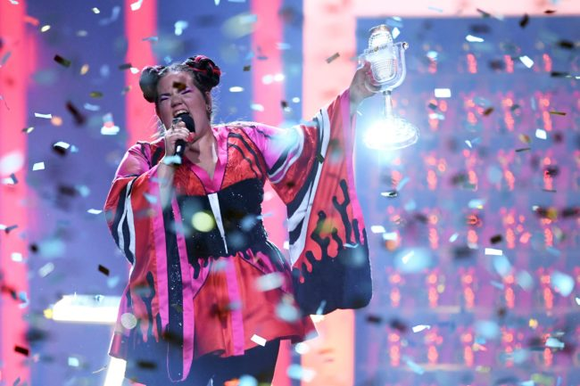 TOPSHOT - Israel's singer Netta Barzilai aka Netta performs with the trophy after winning the final of the 63rd edition of the Eurovision Song Contest 2018 at the Altice Arena in Lisbon, on May 12, 2018. (Photo by Francisco LEONG / AFP) (Photo credit should read FRANCISCO LEONG/AFP/Getty Images)