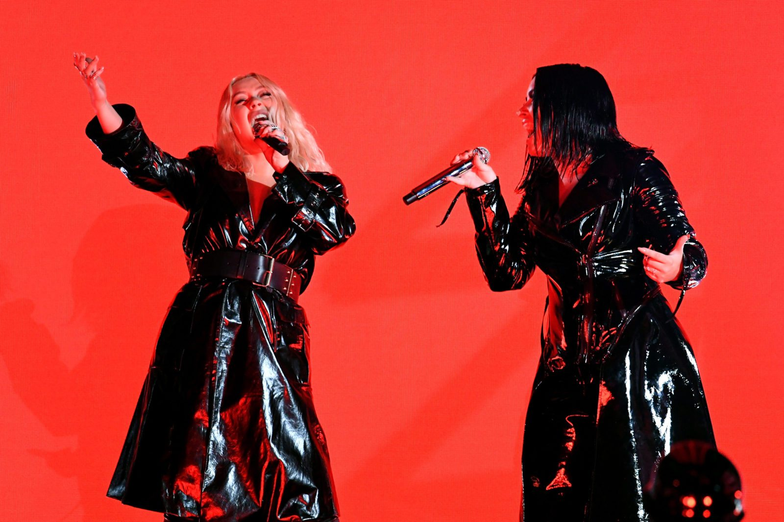 Christina Aguilera (L) and Demi Lovato perform onstage during the 2018 Billboard Music Awards at MGM Grand Garden Arena on May 20, 2018 in Las Vegas, Nevada.  (Photo by Kevin Winter/Getty Images)