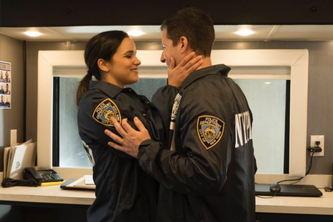 """BROOKLYN NINE-NINE: L-R: Melissa Fumero and Andy Samberg in the first part of the one-hour Fall Finale episode of BROOKLYN NINE-NINE, """"The Fugitive Part 1,"""" airing on a special night, Sunday, Jan. 1 (8:30-9:00 PM ET/PT) on FOX. CR: John P Fleenor/FOX"""