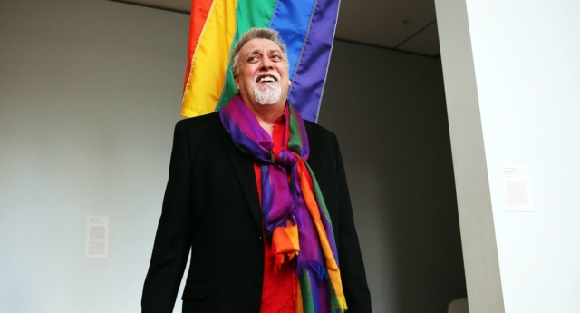 Rainbow Flag Creator Gilbert Baker Speaks At MOMA, After Museum Acquires Flag For Permanent Collection (Getty)