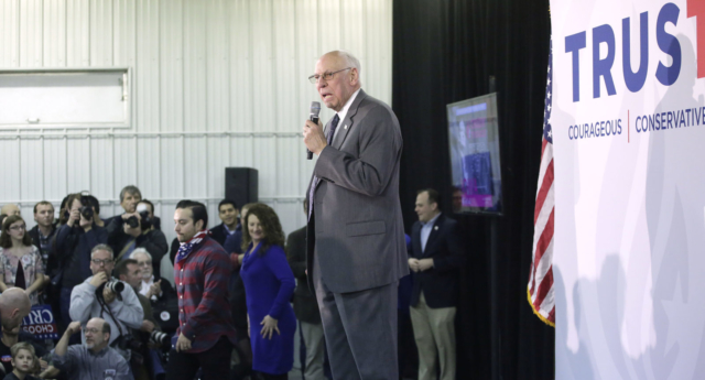 Rafael Cruz, father of former Republican presidential candidate Ted Cruz, speaks about his son during a campaign event (Joshua Lott/Getty Images)