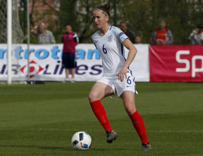ZENICA, BOSNIA AND HERZEGOVINA - APRIL 12: Casey Stoney of England in action during the UEFA Women's European Championship Qualifier match between Bosnia and Herzegovina and England at FF BIH Football Training Centre on April 12, 2016 in Zenica, Bosnia and Herzegovina. (Photo by Srdjan Stevanovic/Getty Images)