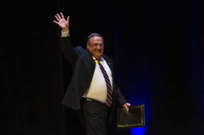 PORTLAND, ME - AUGUST 04: Maine Governor Paul LePage, (R), greets the crowd before Republican Presidential candidate Donald Trump speaks at the Merrill Auditorium on August 4, 2016 in Portland, Maine. (Photo by Sarah Rice/Getty Images)