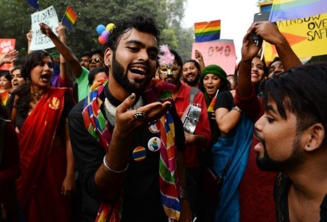 An LGBT pride parade in New Delhi on November 12, 2017. (SAJJAD HUSSAIN/AFP/Getty Images)