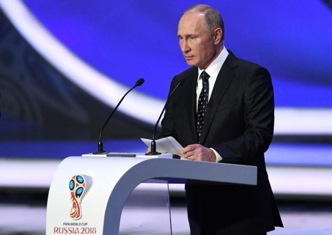 Russian President Vladimir Putin delivers a speech ahead of the 2018 FIFA World Cup football tournament (KIRILL KUDRYAVTSEV/AFP/Getty)