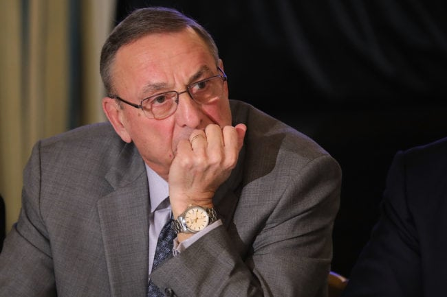 WASHINGTON, DC - FEBRUARY 12: Maine Governor Paul LePage listens to U.S. President Donald Trump during meeting with state and local officials to unveil the Trump administration's long-awaited infrastructure plan in the State Dining Room at the White House February 12, 2018 in Washington, DC. The $1.5 trillion plan to repair and rebuild the nation's crumbling highways, bridges, railroads, airports, seaports and water systems is funded with $200 million in federal money with the remaining 80 percent coming from state and local governments. (Photo by Chip Somodevilla/Getty Images)