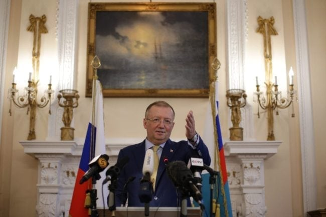 Russian Ambassador Alexander Yakovenko addresses journalists at a news conference in central London