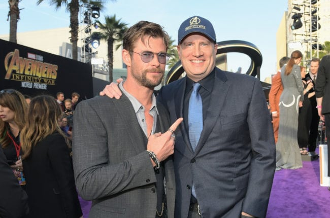 HOLLYWOOD, CA - APRIL 23:  Actor Chris Hemsworth (L) and President of Marvel Studios and Producer Kevin Feige attend the Los Angeles Global Premiere for Marvel Studios? Avengers: Infinity War on April 23, 2018 in Hollywood, California.  (Photo by Charley Gallay/Getty Images for Disney)