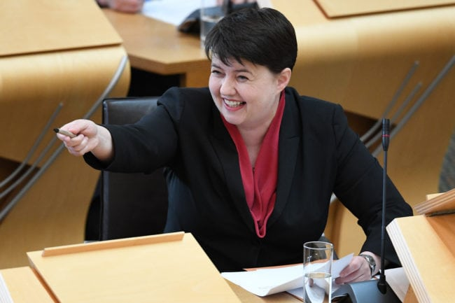 EDINBURGH, SCOTLAND - MAY 31: Leader of the Scottish Conservatives Ruth Davidson reacts during first minister's questions in the Scottish Parliament on March 31, 2018 in Edinburgh, Scotland. (Photo by Jeff J Mitchell/Getty Images)