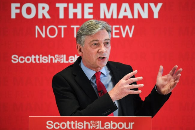 GLASGOW, SCOTLAND - JUNE 04: Richard Leonard, leader of the Scottish Labour party, introduces his new deputy leader Lesley Laird during a speech on SNP cuts on June 4, 2018 in Glasgow, Scotland. During a speech in Candleriggs Richard Leonard laid out his plans for a radical vision for a better Scotland inside the UK, with anti-austerity Labour governments in power at Holyrood and Westminster. (Photo by Jeff J Mitchell/Getty Images)