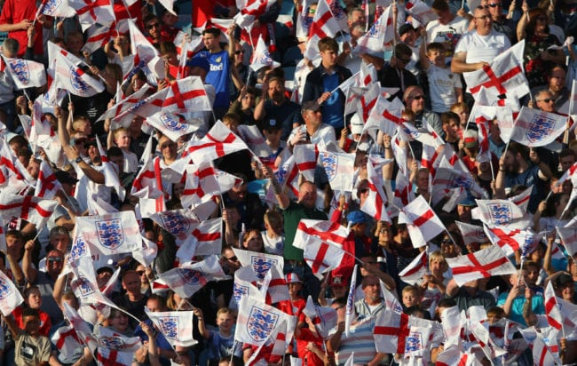 LEEDS, ENGLAND - JUNE 07:  England fans wave with flags during the International Friendly match between England and Costa Rica at Elland Road on June 7, 2018 in Leeds, England.  (Photo by Alex Livesey/Getty Images)
