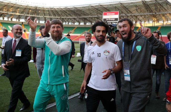 Egyptian national team football player and Liverpool's star striker Mohamed Salah (2ndR) and head of the Chechen Republic Ramzan Kadyrov (2ndL) pose during a training of Egyptian team at the Akhmat Arena stadium in Grozny on June 10, 2018, ahead of the Russia 2018 World Cup. - Egypt's national football team will use the venue as their base camp training site. (Photo by KARIM JAAFAR / AFP) (Photo credit should read KARIM JAAFAR/AFP/Getty Images)