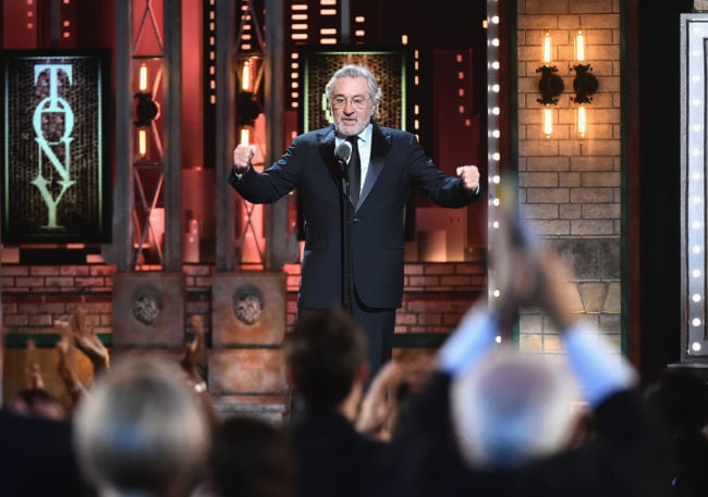 NEW YORK, NY - JUNE 10: Robert De Niro speaks onstage during the 72nd Annual Tony Awards at Radio City Music Hall on June 10, 2018 in New York City. (Photo by Theo Wargo/Getty Images for Tony Awards Productions)