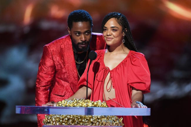Lakeith Stanfield and Tessa Thompson at the 2018 MTV Movie And TV Awards (Kevin Winter/Getty)