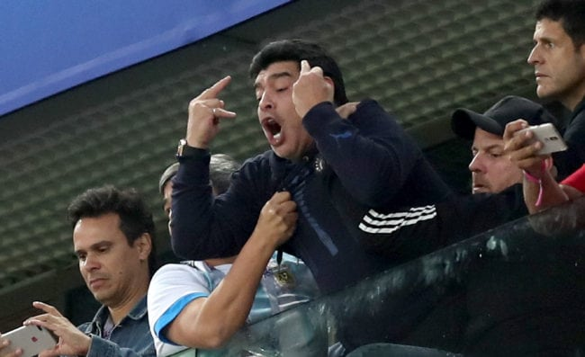 SAINT PETERSBURG, RUSSIA - JUNE 26:  Diego Armando Maradona reacts following the 2018 FIFA World Cup Russia group D match between Nigeria and Argentina at Saint Petersburg Stadium on June 26, 2018 in Saint Petersburg, Russia.  (Photo by Alex Morton/Getty Images)