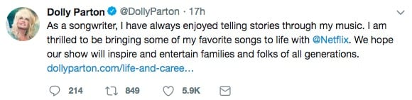 The singer announced the news on Twitter (Dolly Parton/Twitter)