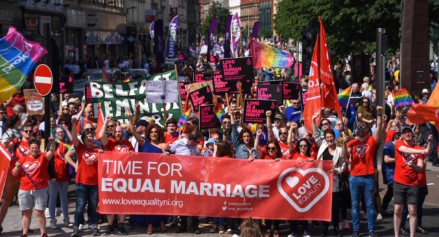 Equal rights campaigners take part in a march through Belfast on June 2 2018 to protest against the ban on same-sex marriage. (Brendan Harkin/Love Equality)